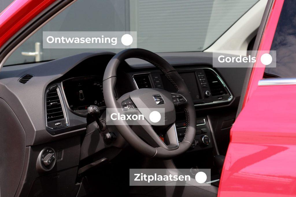 Op deze punten wordt uw auto aan de binnenkant gekeurd.